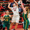 John P. Cleary |  The Herald Bulletin<br /> Frankton's Destyne Knight splits the Eastern defenders as she drives to the basket.
