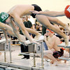 Don Knight |  The Herald Bulletin<br /> Pendleton Heights' Evan Fredericks dives into the pool on the first leg of the 200 freestyle relay as the Arabians hosted the Richmond Red Devils on Thursday.