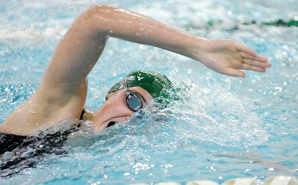 Don Knight |  The Herald Bulletin<br /> Pendleton Heights' Karly Riffey completes her leg of the 400 freestyle relay as the Arabians hosted the Richmond Red Devils on Thursday.