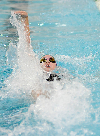 Don Knight |  The Herald Bulletin<br /> Pendleton Heights' McKenna Jule competes in the 100 backstroke as the Arabians hosted the Richmond Red Devils on Thursday.