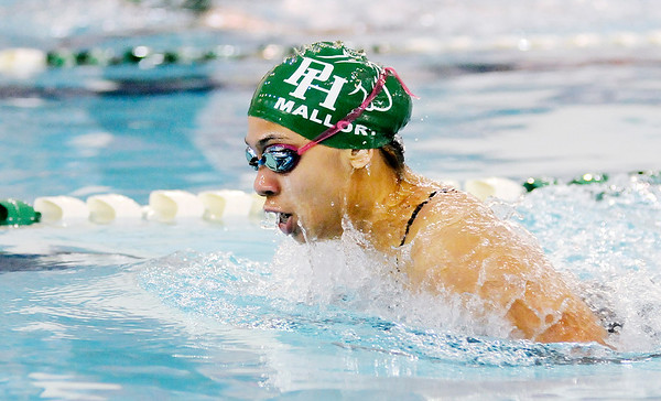 Don Knight |  The Herald Bulletin<br /> Pendleton Heights' Jyeisha Mallory competes in the 100 breaststroke as the Arabians hosted the Richmond Red Devils on Thursday.