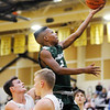 Don Knight | The Herald Bulletin<br /> Pendleton Heights' Davrick Black drives for a layup as the Lapel Bulldogs hosted the Arabians on Friday.