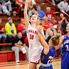 Don Knight |  The Herald Bulletin<br /> Frankton's Bailey Tucker draws a foul from Elwood's Courtney Todd as the Eagles hosted the Panthers on Saturday.