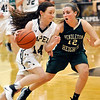 John P. Cleary |  The Herald Bulletin<br /> Lapel's Kylie Rich drives to the baseline against Pendleton's Lauren Landes.