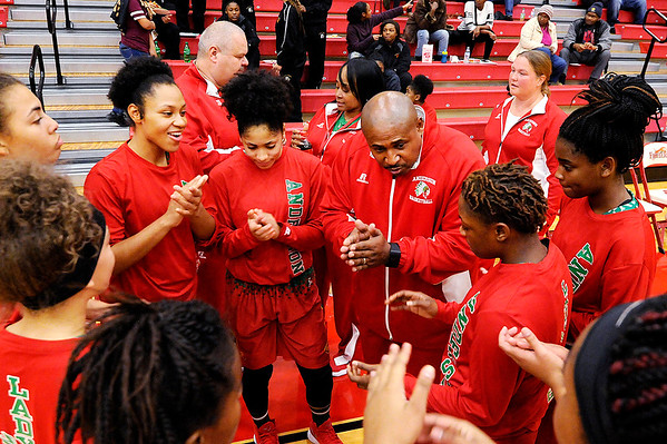 Don Knight |  The Herald Bulletin<br /> Anderson coach Shannon Cleckley talks to his team before their game against  Fishers on Wednesday.