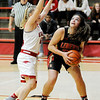 Don Knight | The Herald Bulletin<br /> Liberty Christian's Elena Tufts looks to shoot as she is guarded by Frankton's Bailey Tucker as the Eagles hosted the Lions on Thursday.