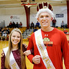 Don Knight |  The Herald Bulletin<br /> Liberty Christian Homecoming King and Queen Preston Grant and Daria Wells were introduced between games of the Lions double header against Indianapolis Metropolitan on Saturday.