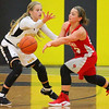 Barry Booher - The News-Herald<br /> Geneva's Emily Corlew, passes around Riverside's Lauryn Holm Dec. 3 at Riverside.