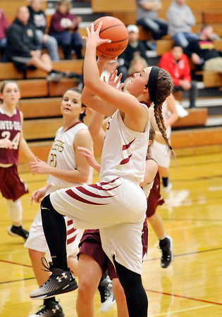 John P. Cleary |  The Herald Bulletin<br /> Wes-Del vs Alexandria in girls basketball.