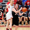 Don Knight |  The Herald Bulletin<br /> Frankton's Gabby Carmack guards Wapahani's Taylor Johns as the Eagles use a full-court press against the Raiders on Tuesday.
