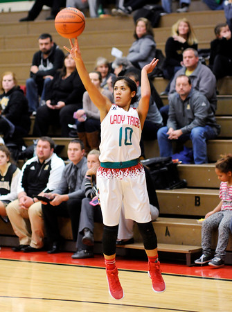 Don Knight | The Herald Bulletin<br /> Anderson's Erin Martin shoots as the Tribe hosted the Noblesville Millers on Tuesday.
