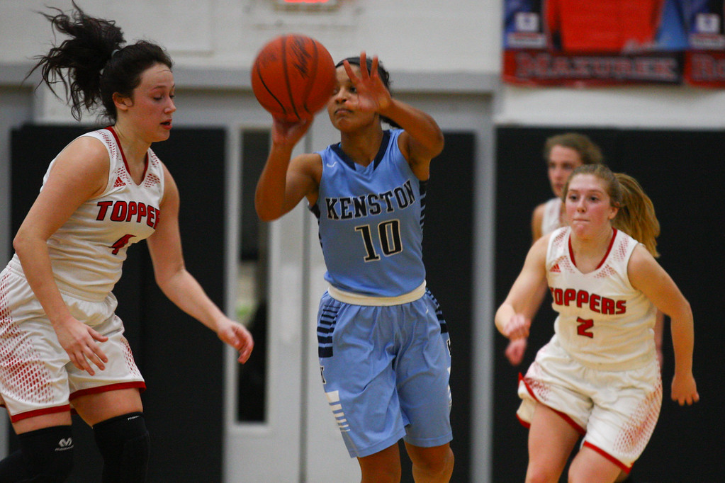 . David Turben - The News-Herald 2017 - Basketball - Kenston at Chardon.  Kenston defeated Chardon 62-53.  Kenston\'s Corenna Maynard (10) passes the ball up court on a fast break.