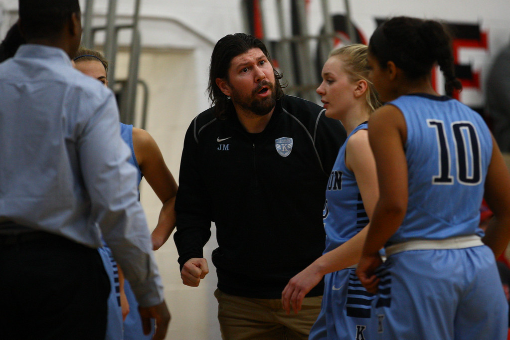 . David Turben - The News-Herald 2017 - Basketball - Kenston at Chardon.  Kenston defeated Chardon 62-53.  Kenston head coach John Misenko adresses his team on a time-out.