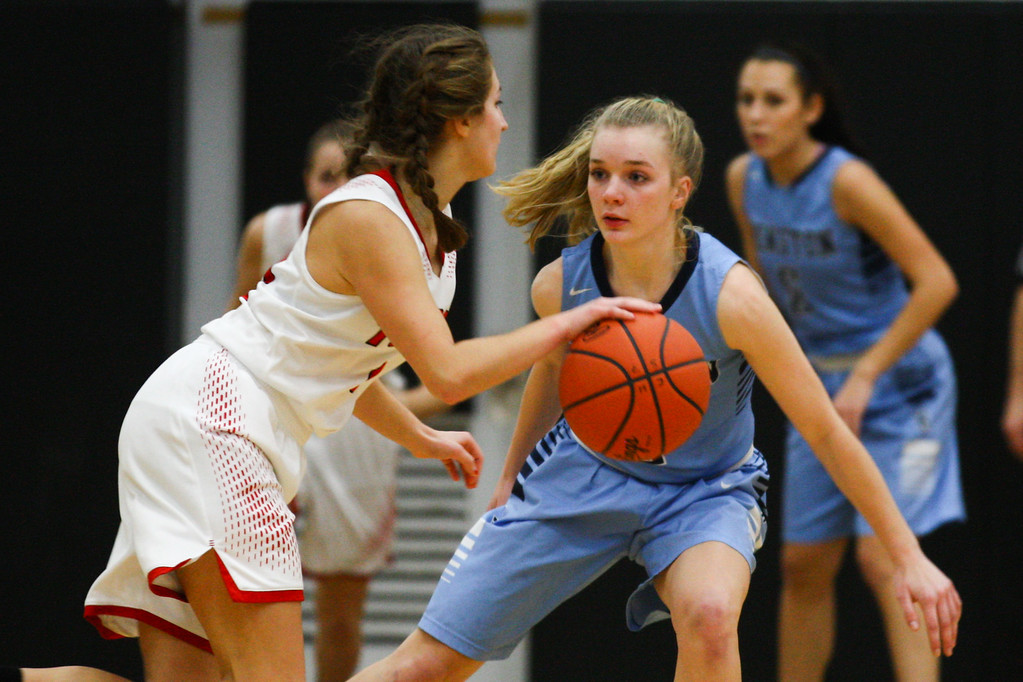 . David Turben - The News-Herald 2017 - Basketball - Kenston at Chardon.  Kenston defeated Chardon 62-53.  Kenston\'s Kathryn Taylor (2) defends against Chardon\'s Lindsey Nichols (10).