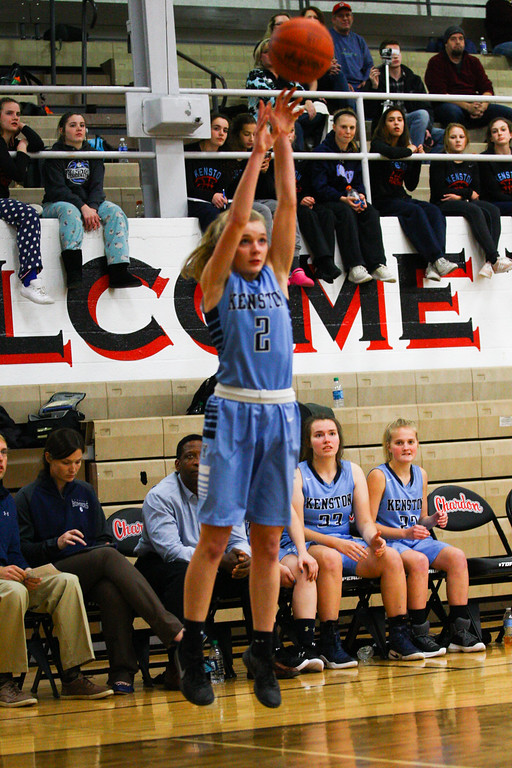 . David Turben - The News-Herald 2017 - Basketball - Kenston at Chardon.  Kenston defeated Chardon 62-53.  Kenston\'s Kathryn Taylor (2) shoots a 3-pointer.