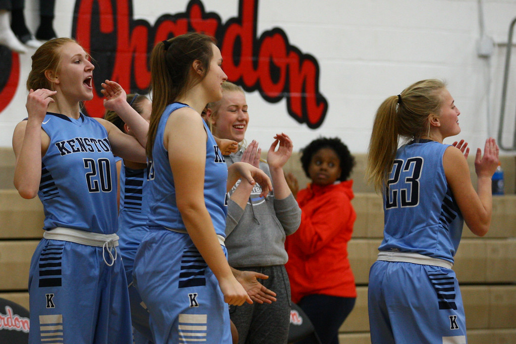 . David Turben - The News-Herald 2017 - Basketball - Kenston at Chardon.  Kenston defeated Chardon 62-53.  The Kenston bench reacts as they win the game.
