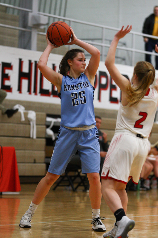 . David Turben - The News-Herald 2017 - Basketball - Kenston at Chardon.  Kenston defeated Chardon 62-53.  Kenston\'s Rachel Apshago (25) looks for a pass.