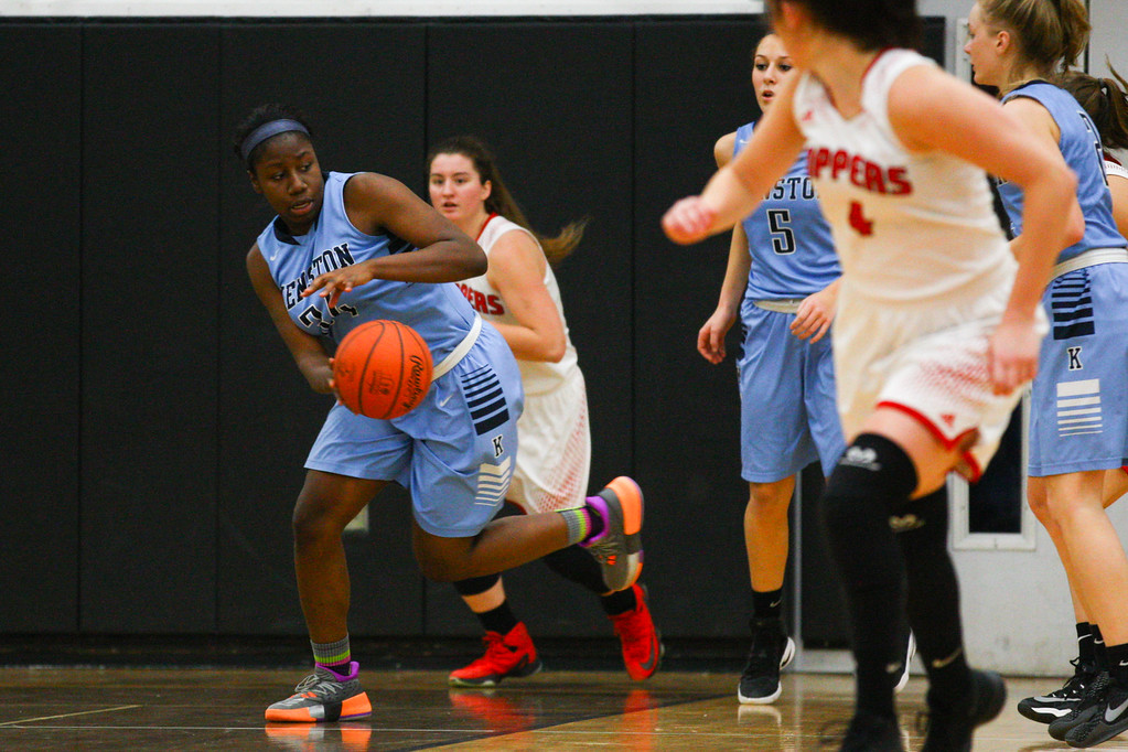 . David Turben - The News-Herald 2017 - Basketball - Kenston at Chardon.  Kenston defeated Chardon 62-53.  Kenston\'s Rayonna Peterson (34) gets a loose ball on a turnover by Chardon late in the game.