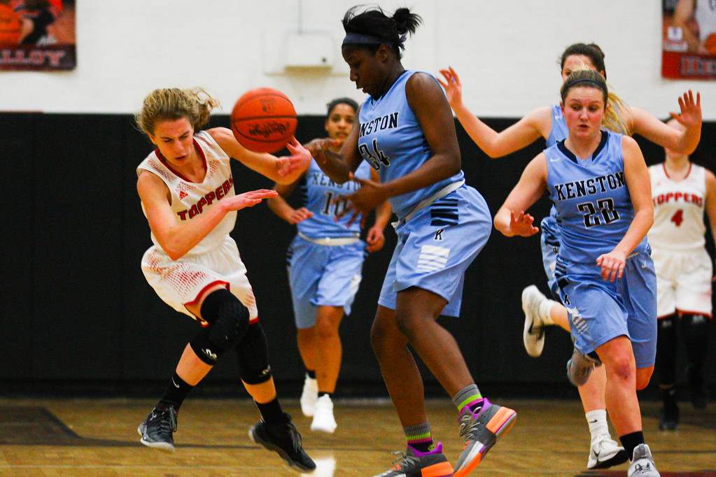 . David Turben - The News-Herald 2017 - Basketball - Kenston at Chardon.  Kenston defeated Chardon 62-53.  Chardon\'s Hallie Landies (5) collides with Rayonna Peterson (24) as they both go for a loose ball.