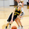Don Knight | The Herald Bulletin<br /> Shenandoah's Kathryn Perry dribbles past Daleville's Ashlyn Craig on Thursday.