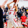 Don Knight |  The Herald Bulletin<br /> Frankton's Kayden Key scores on a fast break with an assist from Landon Weins as the Eagles hosted Oak Hill on Friday.