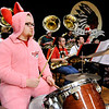 "Don Knight | The Herald Bulletin<br /> Anderson pep band percussionist Kelston Hunt plays the drums dressed as Ralphie from the movie ""A Christmas Story"" as Anderson hosted Shenandoah on Friday."