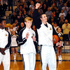 David Humphrey   for The Herald Bulletin<br /> Lapel senior JonRoss Richardson raises his fist in the air during the unveiling of the State Championship banner after team members received their State Championship rings.