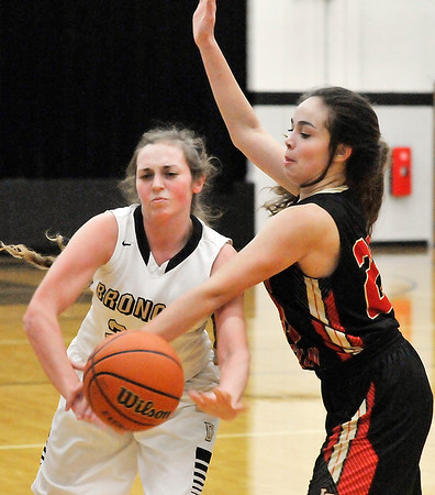 John P. Cleary | The Herald Bulletin<br /> Liberty Christian's Elena Tufts gets a hand on the ball as Daleville's Madison Savage tries to make a pass.