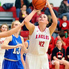 John P. Cleary |  The Herald Bulletin<br />  Frankton's Ryann Shively turns to take a shot against Eastern Hancock.