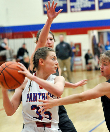 John P. Cleary    The Herald Bulletin<br /> Daleville vs Elwood in girls basketball.