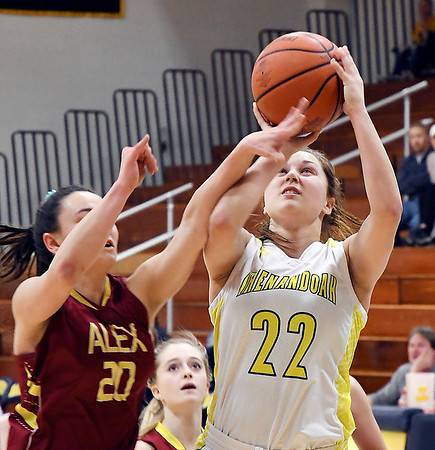 John P. Cleary | The Herald Bulletin<br /> Alexandria's Reiley Hiser gets Faith Muterspaugh's arm instead of the ball as she tries to defend her shot.