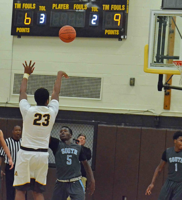 . Paul DiCicco - The News-Herald Brush big man John Hughley makes a 16-footer against South late in the fourth quarter on Dec. 28.