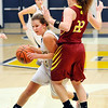 John P. Cleary |  The Herald Bulletin<br /> Shenandoah's Rachel Coers drives around Alexandria's  Blaine Kelly as she tries to force her out of the lane.