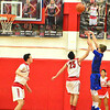 Brittany Chay - The News-Herald<br /> Bay's Erik Painter shoots against Mentor on Dec. 29 at Mentor
