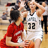 John P. Cleary |  The Herald Bulletin<br /> Frankton's Destyne Knight turns toward the baseline as Lapel's Breanna Boles defends her.