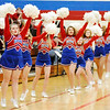Don Knight | The Herald Bulletin<br /> The Elwood cheerleaders react as the Panthers scored a free throw during a double header boys girls game against the Frankton Eagles on Friday.