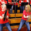 Don Knight | The Herald Bulletin<br /> Elwood pep band percussionists Mallory Helpling, left, and Victoria Kaszuba crash their cymbals as the band performs before the tip of the game between Elwood and Frankton on Friday.