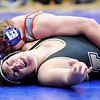 Don Knight | The Herald Bulletin<br /> Elwood's Kyle Cornwell pins Noblesville's Ryan Leslie in the 220 pound championship during the wrestling sectional at Elwood on Saturday.