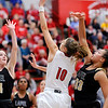 Don Knight |  The Herald Bulletin<br /> Frankton's Addie Gardner drives to the basket as the Eagles hosted Lapel for the first round of the Girls' Basketball Sectional on Tuesday.