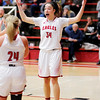 Don Knight |  The Herald Bulletin<br /> Frankton's Destyne Knight is in disbelief after being called for a foul as the Eagles hosted Lapel for the first round of the Girls' Basketball Sectional on Tuesday.