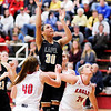 Don Knight |  The Herald Bulletin<br /> Lapel's Makynlee Taylor scores on a putback as Lapel faced Frankton in the first round of the Girls' Basketball Sectional on Tuesday.