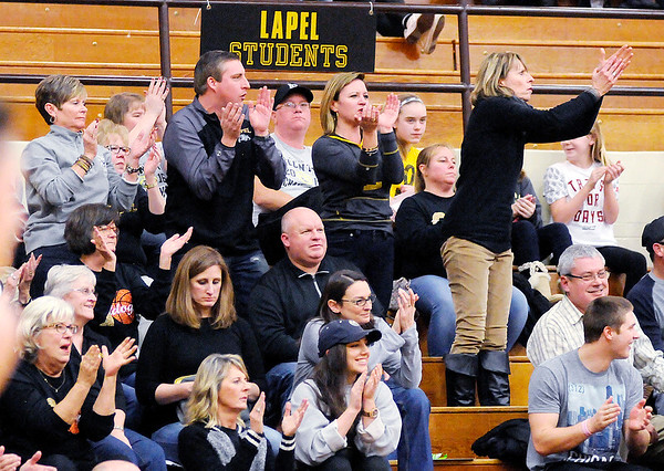 Don Knight | The Herald Bulletin<br /> Lapel's fans react to a play as the Bulldogs beat Alexandria 69-49 in the first round of the Madison County Basketball Tournament at Alexandria on Tuesday.