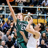 John P. Cleary |  The Herald Bulletin<br /> Pendleton Heights Justin Shupe goes strong to the basket against Alexandria's Austin Paddock.