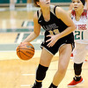 Don Knight | The Herald Bulletin<br /> Lapel's Delany Peoples drives into the lane as the Bulldogs faced the Anderson Indians in the Girls Madison County Tournament Championship at Pendleton Heights on Friday.
