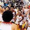 Don Knight |  The Herald Bulletin<br /> The Anderson Tribe celebrates their 54 - 43 win over Alexandria in the Girls Madison County Tournament championship at Lapel on Friday.