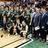 Don Knight |  The Herald Bulletin<br /> The Pendleton Heights Arabians pose with the the Madison County Boys Basketball Tournament trophy after a 74-51 win over Anderson on Saturday.