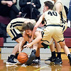Pendeton's Kamden Earley gets sandwiched by Lapel's Cole Alexander and Corbin Renihan late in the game as Lapel puts full court pressure on.