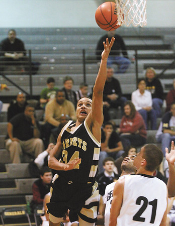 Henryville sophomore Andrew Jones found a open baseline to score against Clarksville Tuesday night.  Staff photo by C.E. Branham
