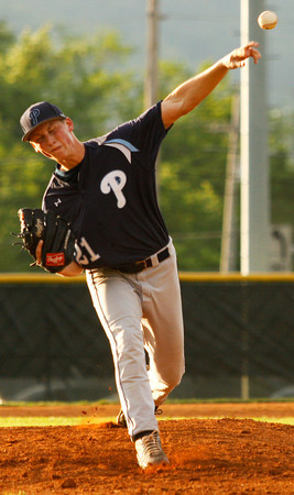 Providence High School pitcher Andrew Hunt pitches during their away game against New Albany High School on Thursday night. New Albany won the game 10-0 in six innings. Staff photo by Christopher Fryer