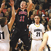 Borden sophomore Garrett Vick puts up a shot against Clarksville Friday night.  Staff photo by C.E. Branham